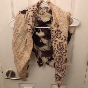 Accessories - Matta Wool Blend Woodblock printed square scarf